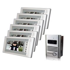 Luxury 7 inches cable video intercom doorbellnight vision waterproof functiona pair six
