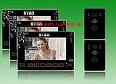 New style luxurious touch key 9 inches cable color intelligent visual intercom doorbell two to three