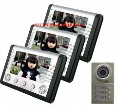 Home 7 inch video intercom doorbell 3 family make up room straight by type building electric control lock door phone system