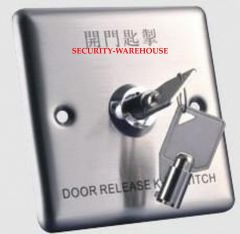door exit button release key switch 86x86mm +key metallic for access control