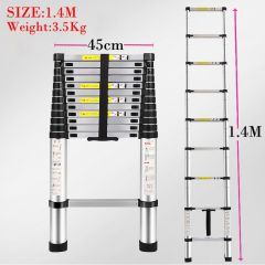 1.4 M Multifunctional retractable ladder aluminum alloy thickening folding ladder bamboo household