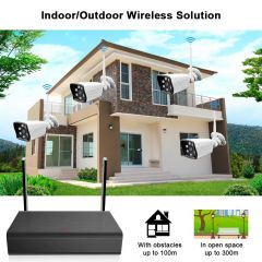 1080P Wireless Security Camera System 4CH NVR 4pcs Home Indoor Outdoor WiFi IP Cameras Surveillance