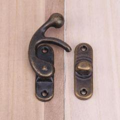 10pcs Vintage Drawer Padlock Hasp Hook Horns Locked Iron Closet Cabinets Wardrobe Jewelry Box Lock H