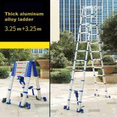 3.25M+3.25M High Quality Thickening Aluminium Alloy Herringbone Ladder Portable Household Telescopic