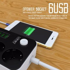3 Outlets 6 USB Ports USB Electronic Power Strip Smart Home Socket Surge Protector Fast Charging