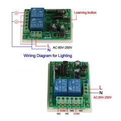 433MHz Wireless Remote Control Switch 2CH Relay Receiver Module + Learning Code 1527 Transmitter rem