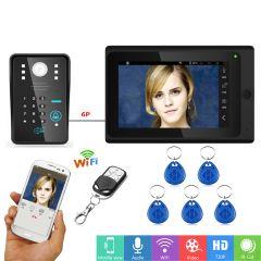"7""Wired / Wireless Wifi RFID Password Video Door Phone Doorbell Intercom System Support Remote APP u"