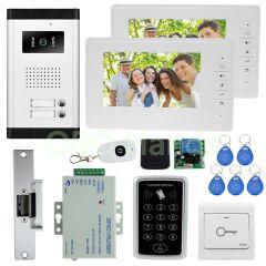 7'' color video door phone intercom camera with lock access control keypad system kit