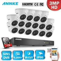 ANNKE 16CH 3MP HD CCTV System 5in1 DVR 16PCS 3MP TVI Security Dome Weatherproof Camera Outdoor CCTV
