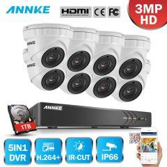 ANNKE 8CH 3MP CCTV System FHD TVI DVR 8PCS 2048*1536 TVI Security Dome Camera Outdoor CCTV Camera