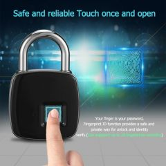 Fingerprint Padlock Smart Fingerprint Lock IP66 Waterproof Dustproof Design Keyless Anti-theft