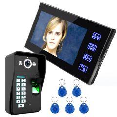 "Free Shipping Touch Key 7"" LCD Fingerprint Video Door Phone Intercom System With fingerprint access"