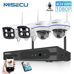 MISECU Wireless 4CH CCTV System Wifi NVR Kit IP Camera Audio Record Outdoor Indoor VandalProof Dome
