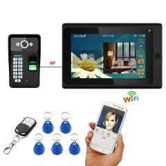 Mountainone 7 inch One to One Wired Wireless Wifi Fingerprint RFID Password Video Door Phone Doorbell