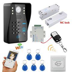 Mountainone Wireless WIFI RFID Password Access Control Intercom System + Electric Bolt Lock Frameles