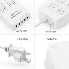 ORICO White HPC-4A5U-US 4-Outlet High Power Smart Surge Protection Socket with US plug for Smartphon