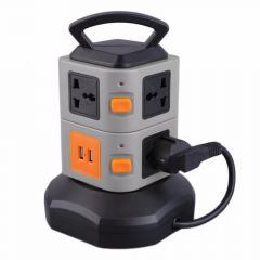 PC+ABS Anti-thunder Overload Protector 7 Outlet 2 USB Ports 2 Layer Socket EU Surge Protector Power