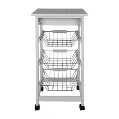 Portable Kitchen Rolling Tile Top Drop Leaf Storage Trolley Cart White Simple Morden Three-layer She