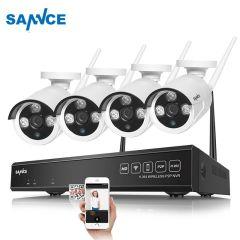 SANNCE 4CH Wireless NVR CCTV System 720P IP Camera WIFI Waterproof IR Night Vison Home Security Came