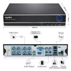 SANNCE 8CH CCTV Camera System AHD CCTV DVR 8PCS 1MP IR Outdoor Security Camera 720P 1200 TVL Camera