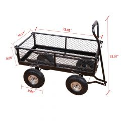 Steel Wagon Garden Cart with Removable Sides Heavy Duty Outdoor Large Garden Trolley Load Capacity 4