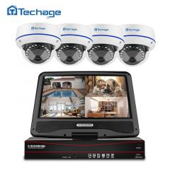 """Techage 8CH 1080P POE CCTV System 10.1"""" LCD NVR Kit 2MP Indoor Outdoor Dome Vandalproof IP Camera P2"""