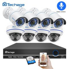 Techage 8CH 1080P POE NVR Audio Record CCTV Security System 2MP Indoor Outdoor Dome PoE IP Camera IR