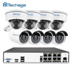 Techage H.265 8CH 48V POE NVR 4MP CCTV System Vandalproof Anti-vandal Indoor Outdoor Dome IP Camera