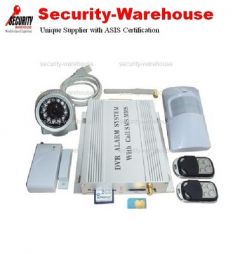MMS Quad GSM Wireless Security Alarm SMS PIR Camera DVR SD Card