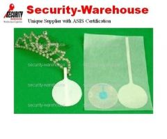 RF Blank Label 40mm Round EAS Tag Sticker Tail 8.2MHz for Jewelry