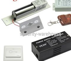 Electric control lock Kit Bolt Lock + Frameless Glass Door Bracket + Remote Control + Power Supply