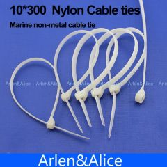 100pcs 10mm*300mm Nylon cable ties stainless steel plate locked for boat vessel with Marine non-meta
