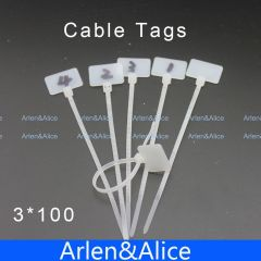 100pcs 3mm*100mm Nylon cable ties tags for On Ethernet RJ45 RJ 12 Wire power cable Label Mak