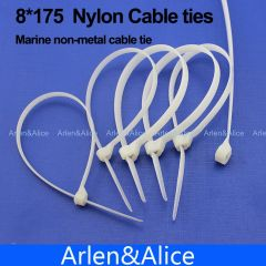100pcs 8mm*175mm Nylon cable ties stainless steel plate locked for boat vessel with Marine non-metal
