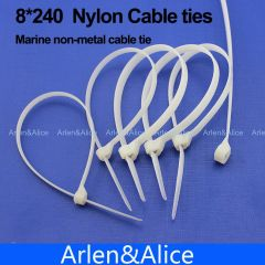 100pcs 8mm*240mm Nylon cable ties  for boat vessel with Marine non-metal tie #8240