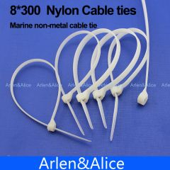 100pcs 8mm*300mm Nylon cable ties stainless steel plate locked for boat vessel with Marine non-metal