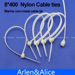 100pcs 8mm*400mm Nylon cable ties stainless steel plate locked for boat vessel with Marine non-metal