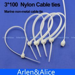 200pcs 3mm*100mm Nylon cable ties stainless steel plate locked for boat vessel with Marine non-metal