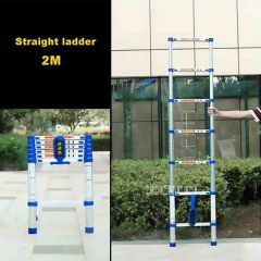 2M High-quality Thicken Aluminium Alloy Single-sided Straight Ladder Portable Household 7-Step