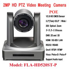 2MP 1080P60/50 PTZ IP Streaming Onvif POE Camera Visca Pelco 20X Optical Zoom Tripod with Simultaneo