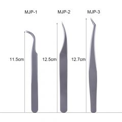 3pcs Eyelash Tweezers Stainless Steel Fake Lash Extension Clamp Curved Head Nail Stickers Curler Man