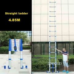 4.85M Straight Ladder JJS511 Portable Household Extension Ladder Thicken Aluminium Alloy Single-side