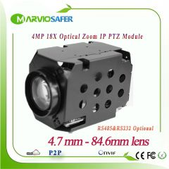 4MP 2592X1520 IP PTZ Camera Module  X18 Optical Zoom 4.7-84.6mm lens RS485 / RS232 Support PELCO-D/P