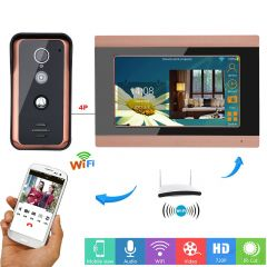 7 inch Wired Wifi Video Door Phone Doorbell Intercom Entry System with 1000TVL Wired IR-CUT Camera