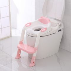 Folding Baby Potty  Toilet Training Seat with Adjustable Ladder Portable Urinal Potty