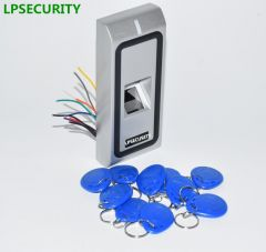 LPSECURITY Biometric Fingerprint RFID Reader Access Controller with 20pcs keychain tags WG26 500 use