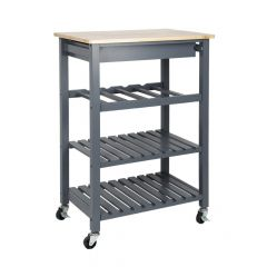 Lacquered Taupe 58*40*84cm Kitchen Trolley Solid Pine Top Three-layer Shelf Rack with Universal Whee
