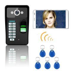Mountainone Waterproof HD720P Wireless WIFI RFID Password Fingerprint Recognize Video Door Phone Doo