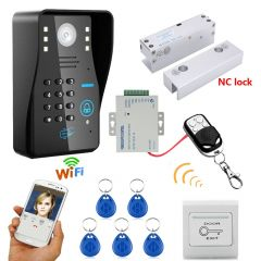 Mountainone Wireless WIFI RFID Password Access Control Intercom System + Electric Bolt Lock Frameles