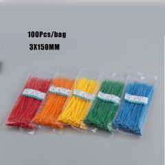 New Arrival 100Pcs/bag 3X150MM Self-Locking White BlACK Red Blue Yellow Nylon Wire Cable Zip Ties